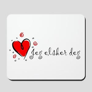 """I Love You"" [Norwegian] Mousepad"